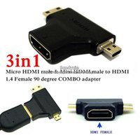Wholesale 1pc in P V Micro HDMI Mini HDMI Male to HDMI Female Adapter Connector COMBO adapter for Cable HDTV Free Epacket