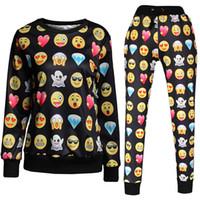 sweat suit - New spring D print tracksuits cartoon emoji jogger suits sweat shirts pants piece set for men women jogging sportwear