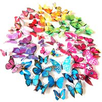 american living dresses - 2400pcs D Butterfly Wall Stickers Simulation Art Decals DIY Home Decor Kids Room Bedroom Wedding Dress Sticker with pin magnet Free DHL