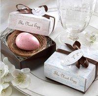 baby nest - DHL New Bird egg Shape Cute Fall In Love Birds Mini Scented Soap Wedding Nest egg Soap Baby Wedding Shower Favor Gift