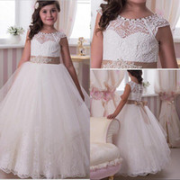 Wholesale 2016 New Adorable Ivory Wedding Flower Girls Dresses Crew Neckline with Sequins Waistband Lace Girl s Dress Cap Sleeves Floor Length