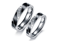 Wholesale New Men Women Jewelry Titanium Steel Rings for Lover Wedding Rings Black Fashion Rings Size