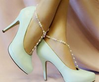 toe ring anklet - Fashion Barefoot Sandal Anklet Toe Ring Foot Jewelry Barefoot Sandal Double Pearl Ankle Bracelet Beach Wedding Jewelry Foot Jewelry