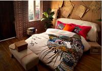 al por mayor reina juego de edredón jirafa-Al estilo alemán colorido gato caballo jirafa 4pcs sistemas del lecho del tamaño de la reina de la moda juegos de cama edredón rey 3d 2015