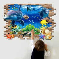 Wholesale Large D Effect Sea Fish Self Adhesive Vinyl Removable Decal for Kids Bedroom Bathroom Decorations PVC Wall Stickers Home Decor Mural Art