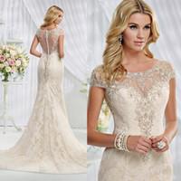 dresses new york - New York Mermaid Wedding Dresses Scoop Cap Sleeve Beads Appliques Vestido de Novia Court Train Lace Bridal Gowns W4200