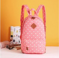 american trade school - American new export trade pink dots canvas girl backpacks women school student bags Dot Rucksack