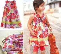 little girls dresses - cotton summer little girl dress sleeveless floral children clothing flower casual girls dresses