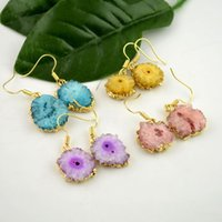 drusy jewelry - 5Pair Mixed Color Geode Drusy Gold plated Edge Quartz Druzy gem stone Dangle Earrings Jewelry Finding