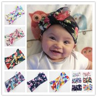 Wholesale Mix colors baby headbands new style print knitted bow headband baby girls infant headbands baby turban cotton jersey blend headband n900