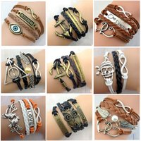 Wholesale Free FedEx DHL Designs Leather Bracelet Antique Cross Anchor Love Peach Heart Owl Bird Believe Pearl Knitting Bronze Charm Bracelets