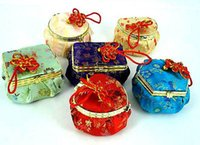 Cheap Wholesale10PCS CHINESE HANDMADE CLASSIC SILK JEWELRY BOXES with mirror& charm