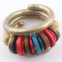 Cheap Tibetan Jewelry Colorful Wood Beads Snake Bracelet Bangles for Women National Style Adjustable Cuff Bracelet B376