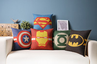 Wholesale Batman pillow Superman Captain America Iron Man Green Lantern Avenger superhero justice league throw pillow cushion cover