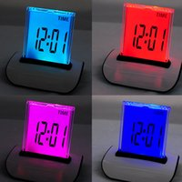 Wholesale 7 LED Color Changing Digital LCD Thermometer Calendar Alarm Clock