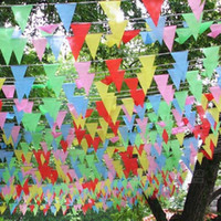 Wholesale Meters Handmade Fabric Bunting Triangle Shape Flags Wedding Supplies