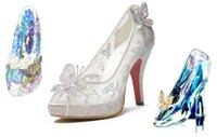 venda por atacado levou industrial-2015 New Hot Cinderella Prom Luxury Shoes da princesa casamento salto alto Crystals Sparkly Lace sandálias de verão branco peep toe sapatos de noiva MYF106