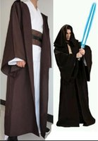 Wholesale Star Wars Costume Hooded Robe Adult Cosplay Jedi Kinight Black Brown Cloak Cape for Men anime cosplay costume S XL
