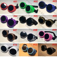 Wholesale New Vintage Steampunk Goggles Glasses Welding Victorian Cyber Punk Gothic Sunglasses traveling sunglasses Color
