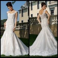 alexia wedding - 2015 Wedding Dresses Lace White Organza Sweetheart Capped Sleeve Brush Train Lace Alexia Mermaid Wedding Dress With Applique Beads