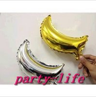 Wholesale 10 inch small moon shape Foil Balloons For Wedding Party Birthday party silver and gold moon balloons