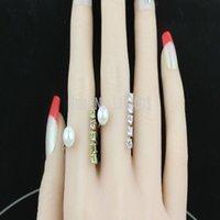 Wholesale U shape pearl ring yellow zircon Knuckle ring sterling silver women engagement rings gift Ya Ya jewelry