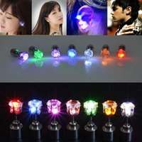 Wholesale 2015 LED Earrings Glowing Light Up Crown Ear Pendant Stud Stainless For Party pairs