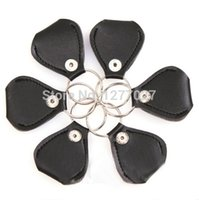 Wholesale 1PCS Fashion Real Leather Guitar Pick Holder With Key Chain Black Color QD4U