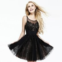 Wholesale New Fashion Lace Tulle Ball Gown Scoop Neck Beading Short Homecoming Dress Short Prom Dress
