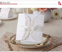 Wholesale elegant White Flower Cut out With butterfly Free Personalized Customized Printing Wedding Invitations Cards