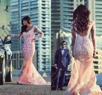 evening gowns with sleeves - Elegant Lace Appliques Prom Dresses With Long Sleeve Evening Party Gowns Evening Dresses Gowns for Pageant vestidos de fiesta
