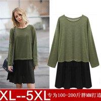 ai shirt - Ai Huier winter new large size women T shirt stitching false two Pleated Dress woman in Europe