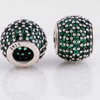 Wholesale Authentic Sterling Silver Paved Charms Beads Silver Loose beads Fit European Pandora Jewelry Charm Bracelets price Cheap Beads