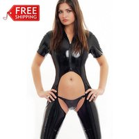 sexy leather catsuit - latex catsuit women sexy costumes adult erotic costume faux leather Latex Wet Look sexy lingerie women sexual abuse SM