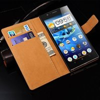 Cheap Hot Sale Stand Design Real Leather Book Case For Lenovo K900 Phone Back Cover With Card Slot Drop Ship