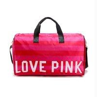 Wholesale 2016 Fashion Large Capacity Women Travel Bag Velour Rose Stripe Pink Duffle Body Building Bag Shoulder Tote Handbag Luggage