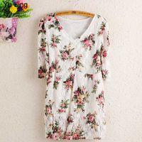 Cotton blouse free size - Plus Size Flower Print V neck Skirt Lace Blouse Women Loose Middle Sleeve Shirts colour size XL XL XL XL