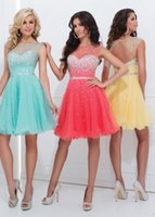 Wholesale 2016 Girls Dresses A line Homecoming dresses Knee Length Beaded High Neck Chiffon Cocktail Dresses Short Prom Dresses HY00401