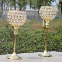 Wholesale New metal gold plated candle holder with crystals wedding candelabra centerpiece decoration candlestick set