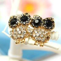 Wholesale Vintage Lovely Ladies Rhinestone Crystal Owl Earrings Stud Golden Beauty Ear Studs for Girl