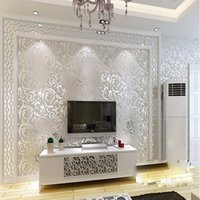 Wholesale QIHANG Sliver Netherland Victorian Damask Embossed Wallpaper High Quality m m SQM