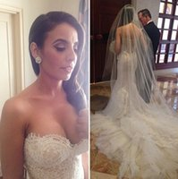 Wholesale White Ivory Lace Wedding Dresses Vintage Mermaid Bridal Gowns With Sweetheart Neck Zip Back Long Court Train Formal Wedding Gowns