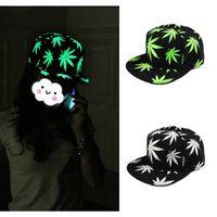 snapback - Korean Style Noctilucous Snapback Gorras Baseball Cap Planas Touca Unisex Maple Leaf Printed Snapback Caps Hats for Men GA0070