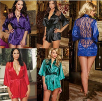 Wholesale Sexy silk nightdress Lingerie women designer Satin Lace Kimono Intimate Sleepwear Robes and G String pajamas plus size M XXL Underwear coat