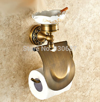 antique ashtrays - Flower Carved Antique Brass Bath Wall Mount Toilet Paper Holder With Ashtray