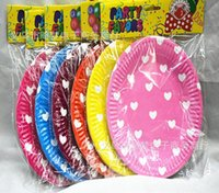 Wholesale 7 quot Disposable paper tray Lover heart printed colors paper disc cake plate birthday party supplies paper tray party favors