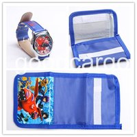 Wholesale 2015 Big Hero Watch And Wallet Sets Baymax Purse Wrist Quartz Watch Children Gift Boys Girls Cartoon Watches Shipping by DHL Hot