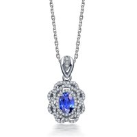 Wholesale 18K White Gold About ct Natural Blue Sapphire Jewelry Gemstone Fine Jewelry Necklace Pendant for Woman