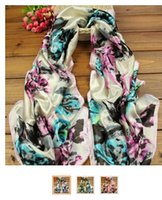 butterfly scarf silk - 15PCS Women Fashion Butterfly Silk Scarfs Fashion Chiffon Silk shawls Women Sunscreen shawl Quatrefoil Scarf Infinity Scarves