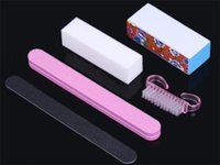 Wholesale 5Pcs Professional Manicure Tools Kit Rectangular Nail Files Brush Nail Art Accessories styling tools Hot sales